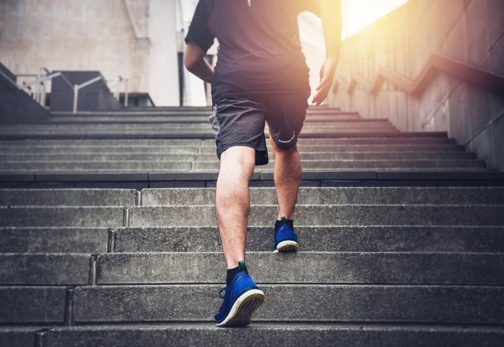 Man Exercising Running up Stairs